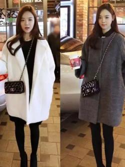 เสื้อโค้ทแจ็คเก็ตเกาหลี แนวเสื้อขนสัตว์ ทรงหลวม มี2สี