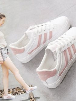 รองเท้าผ้าใบเกาหลี แต่งแถบเส้นด้านข้าง สไตล์ฮาราจูกุ มี3สี