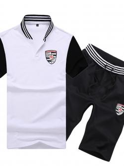 Pre Order ชุดใส่ออกกำลังกาย เสื้อโปโลคอตั้งปักลายโลโก้ Porsche (ปอร์เช่)+กางเกงขาสั้น มี4สี