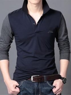 เสื้อโปโลแขนยาวเกาหลี แต่งแขนเสื้อ ดีไซน์คอปก มี3สี