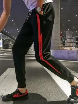 กางเกงขายาวเกาหลี ทรงSport แต่งสายฟ้าด้านข้าง มี4สี