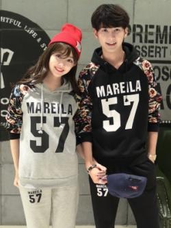 ชุดคู่รักเกาหลี MAREILA เสื้อฮู้ดแขนยาว+กางเกงขายาว มี2สี