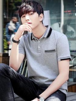 เสื้อโปโลแขนสั้นเกาหลี สีเทา แต่งเส้นขอบ