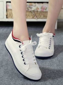 รองเท้าผ้าใบเกาหลี แต่งขอบแถบสี แนวอินเทรนด์ มี4สี