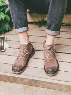 รองเท้าบูททรงสูงเกาหลี แนววินเทจ แต่งเชือกผูก มี2สี