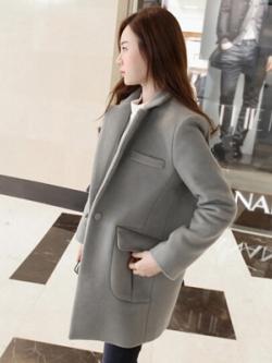 เสื้อโค้ทตัวยาวเกาหลี แนวเสื้อขนสัตว์ แต่งกระเป๋าเสื้อ มี3สี