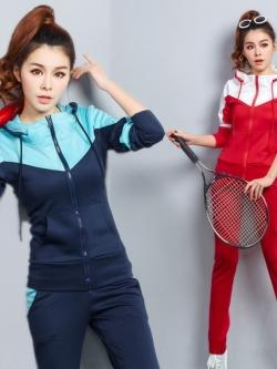ชุดวอร์มกีฬาเกาหลี เซ็ทเสื้อแจ๊กเก็ตแขนยาวมีฮู้ดรูดซิปด้านหน้า +กางเกงขายาว