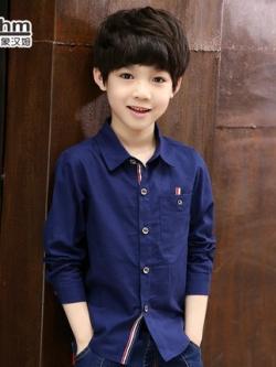 เสื้อเชิ้ตแขนยาวเด็กเกาหลี แต่งลายแถบกระดุม ดีไซน์กระเป๋า มี3สี