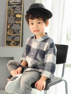 เสื้อเชิ้ตแขนยาวเด็กเกาหลี ลายสก๊อตทรงหลวม