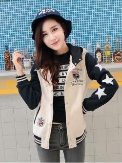 เสื้อฮู้ดแจ็คเก็ตเบสบอลเกาหลี แต่งรูปดาว ดีไซน์ขอบ