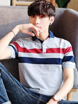 เสื้อโปโลแขนสั้นเกาหลี สไตล์ลำลอง แต่งลายเส้น มี4สี
