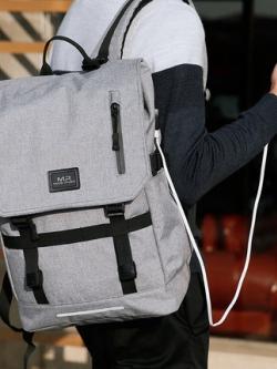 กระเป๋าสะพายหลังเกาหลี แต่งฝาปิดกระเป๋า ดีไซน์สายรัด มี2สี