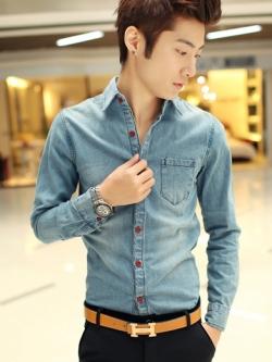 เสื้อเชิ้ตยีนส์แนวเกาหลี แขนยาว สีตามรูป ดีไซด์กระดุมเสื้อ