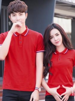 Pre Order เสื้อโปโลคู่รักแฟชั่น สไตล์เกาหลี แต่งลายคลาสสิก สีแดง
