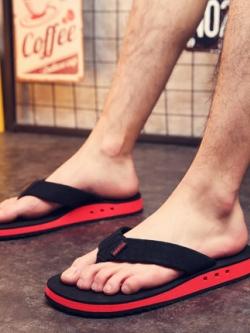 รองเท้าแตะเกาหลี แบบคีบ แต่งขอบสีสัน มี5สี