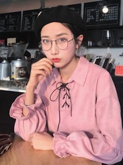 เสื้อแขนยาวเกาหลี แต่งผูกไขว้คอเสื้อ จั้มแขน มี3สี