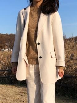 เสื้อสูทแจ็คเก็ตเกาหลีสีเบจ แนว Chic ผ้าขนสัตว์หนา