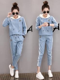Pre Order ชุดวอร์มแฟชั่นเกาหลี เสื้อแขนยาวมีฮู้ด+กางเกงขายาวแต่งแถบข้าง