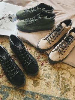 รองเท้าผ้าใบทรงสูงเกาหลี แนวบูท แต่งเชือกผูก มี3สี