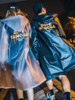 เสื้อฮู้ดกันฝนตัวยาวเกาหลี สกรีนลายอักษรด้านหลัง มี2สี