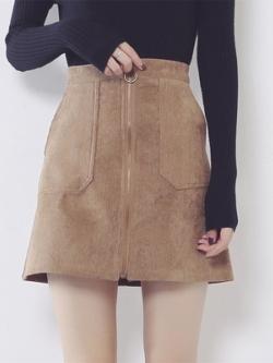 กระโปรงสั้นเกาหลี แต่งซิบกลาง ดีไซน์กระเป๋า มี3สี