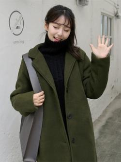 เสื้อโค้ทตัวยาวเกาหลี แนวเสื้อขนสัตว์หนานุ่ม มี5สี