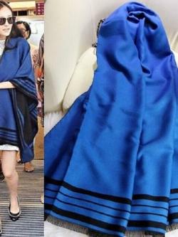ผ้าพันคอผ้าขนสัตว์แคชเมียร์สีน้ำเงินหนาอบอุ่น สไตล์ยุโรป