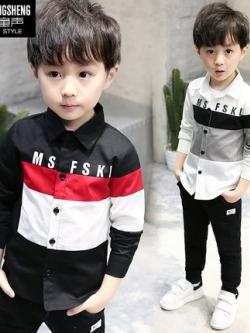 เสื้อเชิ้ตแขนยาวเด็กเกาหลี แต่งแถบลายขวาง มี2สี