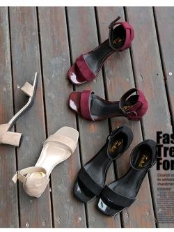 รองเท้าแฟชั่นส้นสูงผู้หญิง สายรัดข้อหนังนิ่มสไตล์เกาหลี