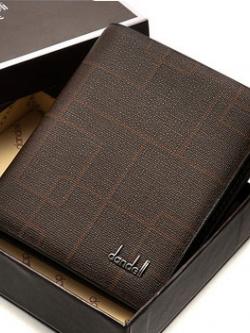 กระเป๋าสตางค์แนวตั้งเกาหลี DANDELI สีน้ำตาลเข้ม แต่งลายเส้นสวยงาม