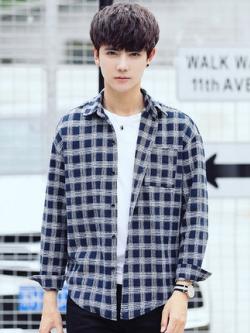 เสื้อเชิ้ตแขนยาวเกาหลี ลายตารางสก๊อต สไตล์วินเทจ มี3สี