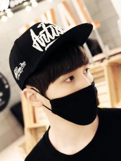 หมวกแก็ปสีดำเกาหลี พิมพ์ลายแนวเบสบอล