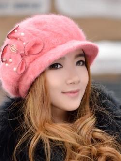 หมวกโดมเกาหลีเฟอร์ขนกระต่าย แต่งโบว์น่ารักประดับมุก