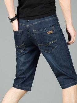 กางเกงยีนส์ขา4ส่วนเกาหลี สีน้ำเงิน แต่งลายเส้นกระเป๋า