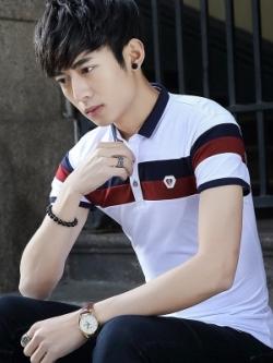 เสื้อโปโลแขนสั้นเกาหลี แต่งแถบสีคาดด้านบน มี3สี