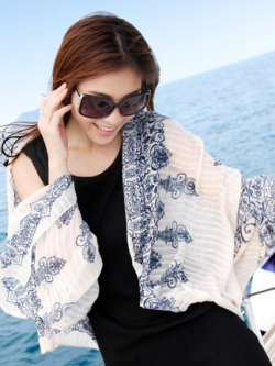 ผ้าพันคอ/คลุมไหล่เกาหลี สีขาว แต่งลายทั้งตัว แนวชายหาด