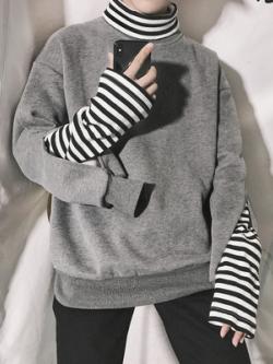 เสื้อแขนยาวแฟชั่นเกาหลี ดีไซน์2ชั้น แต่งคอเสื้อ มี2สี