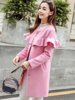 เสื้อโค้ทแจ็คเก็ตเกาหลี แต่งระบายช่วงอก มี2สี