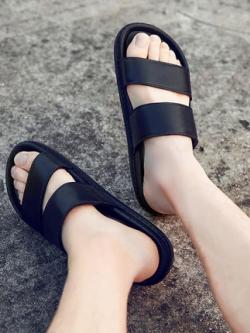 รองเท้าแตะแบบสวมเกาหลี แต่งสายคาดเรียบสวย มี2สี