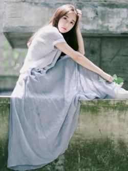 กระโปรงยาวเกาหลี ผ้าลินิน เอวยางยืด สีสันสดใส มี6สี