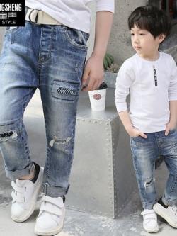 กางเกงยีนส์เด็กขายาวเกาหลี สีฟ้าน้ำเงิน แต่งแนวเซอร์ๆ