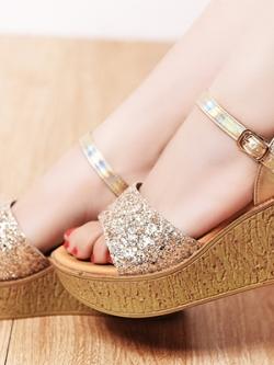รองเท้าส้นสูงเกาหลี แต่งดิ้นเพชรหรูหรา สไตล์ยุโรป มี3สี