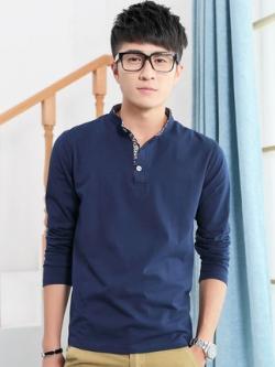 เสื้อโปโลแขนยาวเกาหลี แต่งแถบกระดุมลายดอก เรียบสวย มี4สี