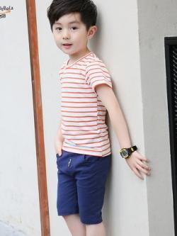 ชุดเซทเด็กเกาหลี เสื้อยืดลายขวาง+กางเกงขาสั้น มี2สี
