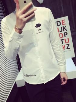 เสื้อเชิ้ตแขนยาวเกาหลี สีขาว แต่งรูปหนวดบนอกเสื้อ สไตล์ Korea