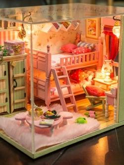 โมเดลบ้าน DIY สุดโรแมนติก ของขวัญ/ของตกแต่งบ้าน วัสดุไม้ ตกแต่งไฟ LED