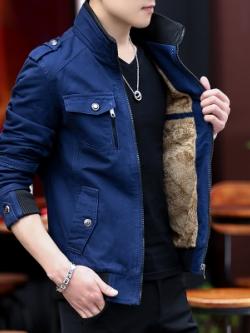Pre Order เสื้อแจ็คเก็ตกันหนาวแฟชั่นเกาหลี ด้านในบุด้วยกำมะหยี่ แต่งกระเป๋าหน้า มี4สี