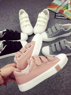 รองเท้าผ้าใบเกาหลี แต่งเปิดปิด ดีไซน์ขอบ มี4สี