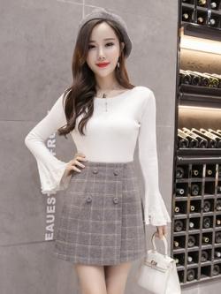 กระโปรงสั้นเกาหลี ซับในกางเกงด้านใน ลายสก็อต กระดุมคู่ มี3สี