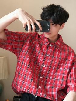 เสื้อเชิ้ตเกาหลี ทรงหลวม ลายตารางสก็อต มี2สี